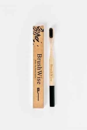Black eco friendly bamboo toothbrush and box