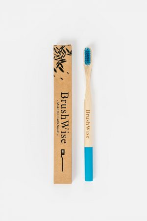 Blue eco friendly bamboo toothbrush and box