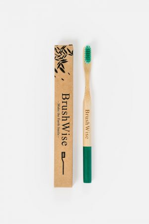 Green eco friendly bamboo toothbrush and box