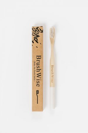 White eco friendly bamboo toothbrush and box